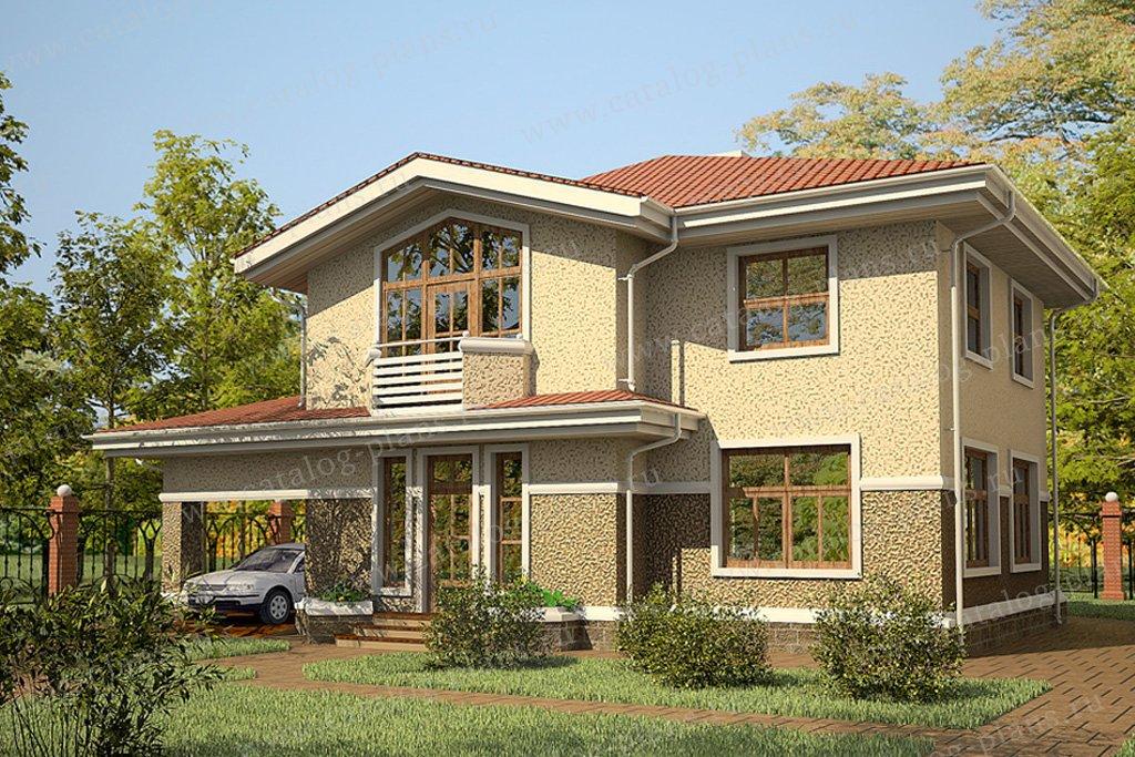 Проект жилой дом #59-44 материал - газобетон, стиль американский