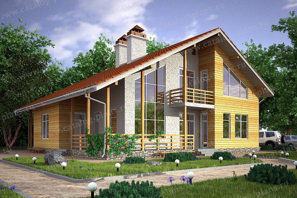 Проект жилой дом #59-43 материал - газобетон, стиль скандинавский