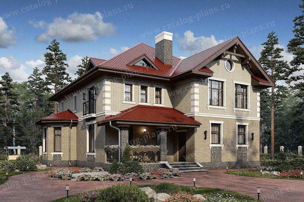 Проект жилой дом #57-33K материал - кирпич, стиль американский