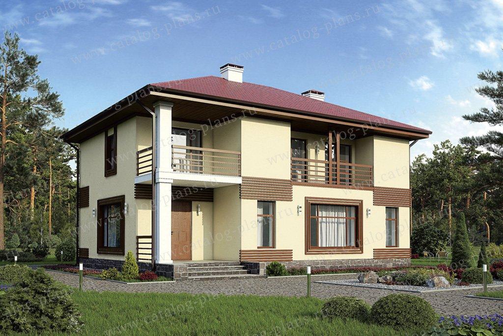 Проект жилой дом #57-26K материал - кирпич, стиль хай-тек