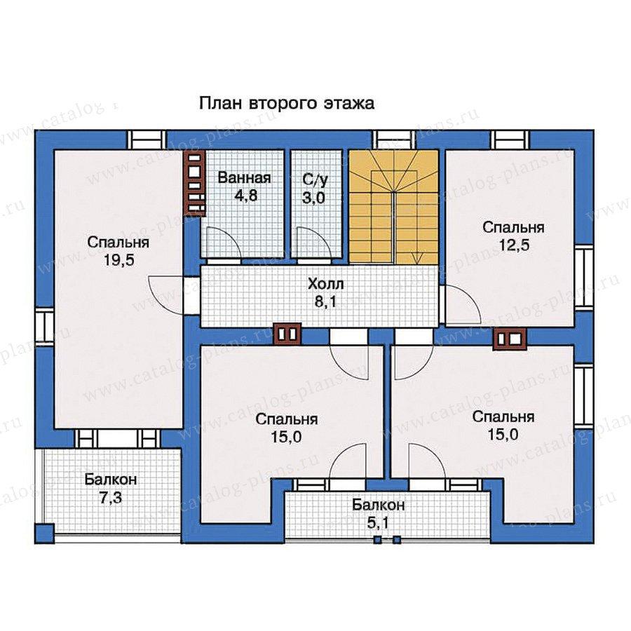 Проект загородного дома с террасой, верандой и 4 спальнями d.