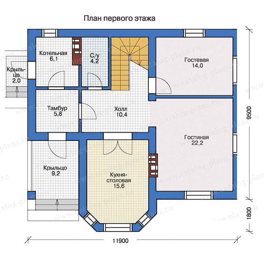 План 1-этажа проекта 57-27L