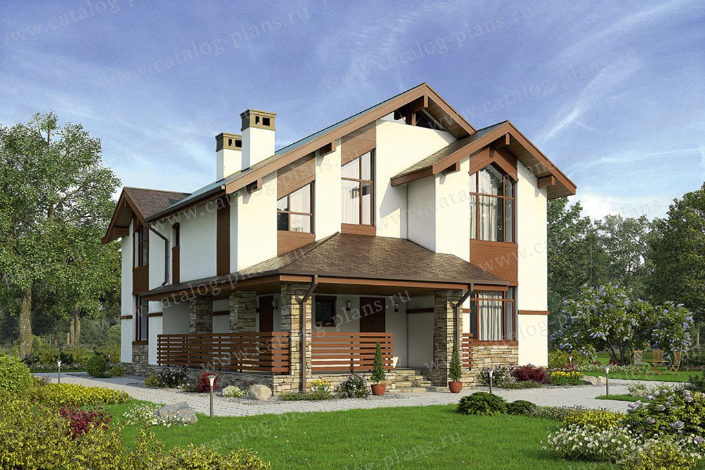 Проект жилой дом #57-42K материал - кирпич, стиль скандинавский