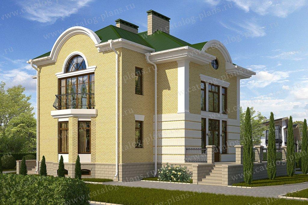 Проект жилой дом #59-78B материал - кирпич, стиль классический