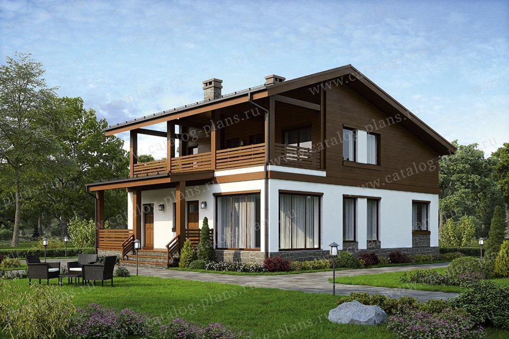 Проект жилой дом #57-38 материал - газобетон, стиль скандинавский