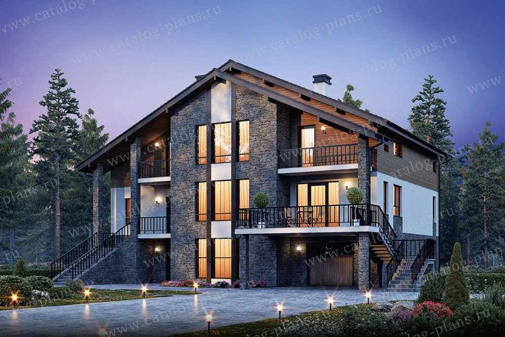 Проект трехэтажного дома из газобетона с мансардой