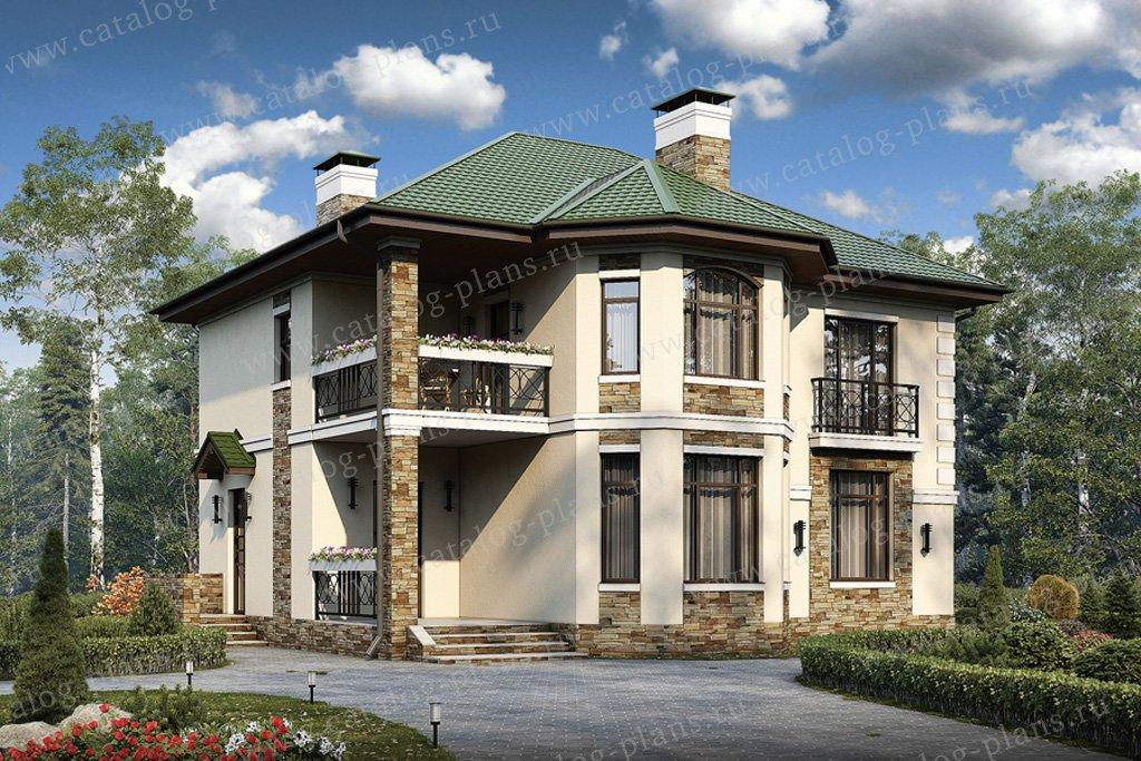Проект жилой дом #57-27 материал - газобетон, стиль европейский