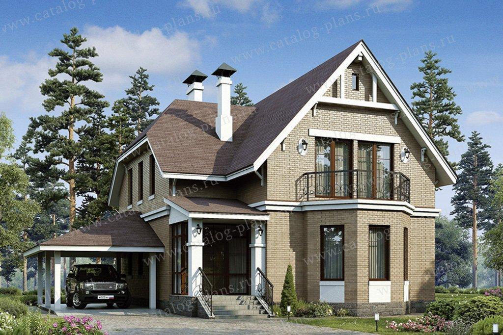 Проект двухэтажного кирпичного дома с мансардой 48-02 в неме.