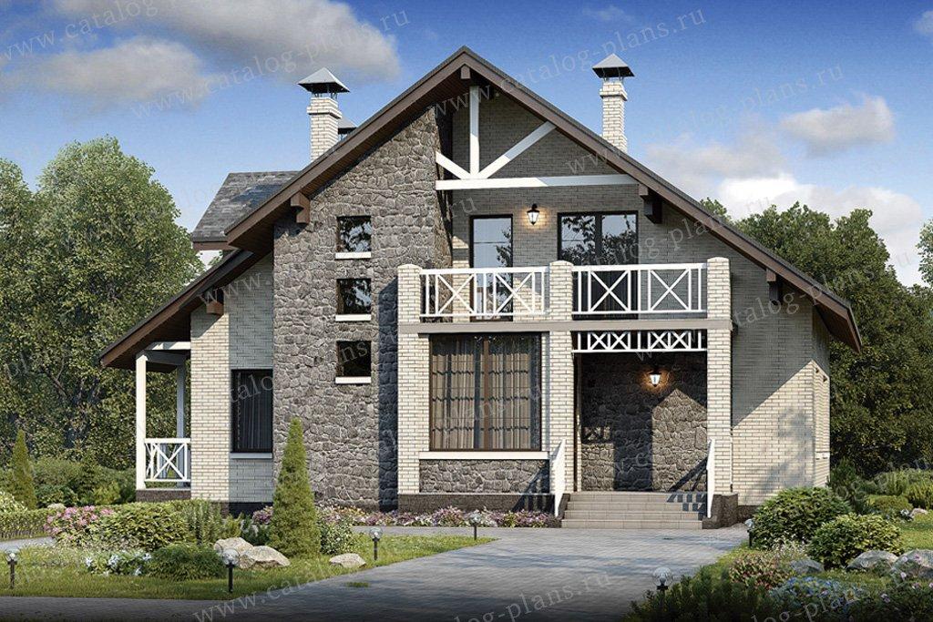 Проект жилой дом #48-16 материал - кирпич, стиль современный