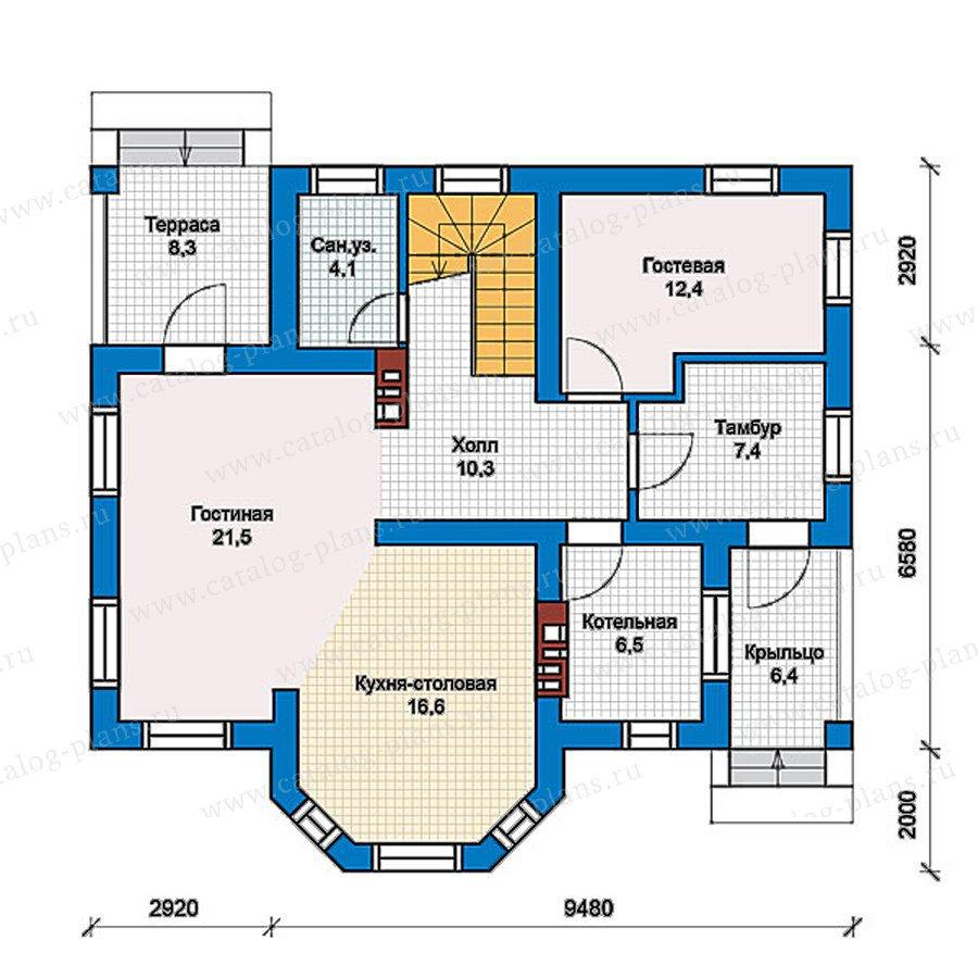 План 1-этажа проекта 57-41G