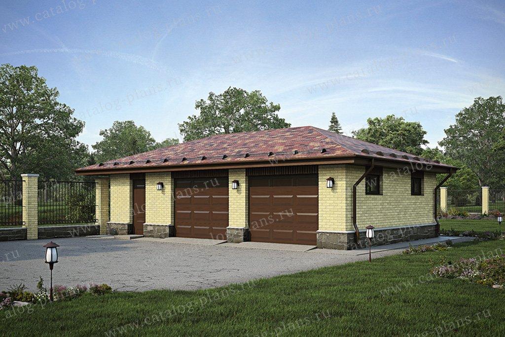 Проект гараж #39-49 материал - кирпич, стиль европейский