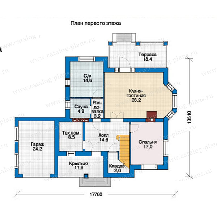 План 1-этажа проекта 37-36