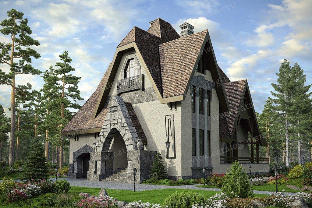 Проект жилой дом #39-08 материал - кирпич, стиль средневековый