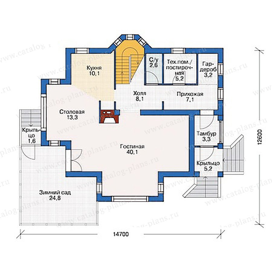 План 1-этажа проекта 37-07