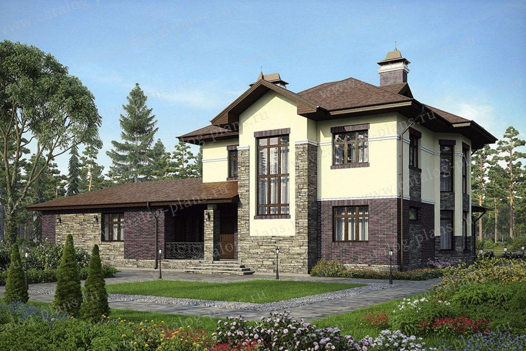 Проект жилой дом #38-06 материал - кирпич, стиль американский
