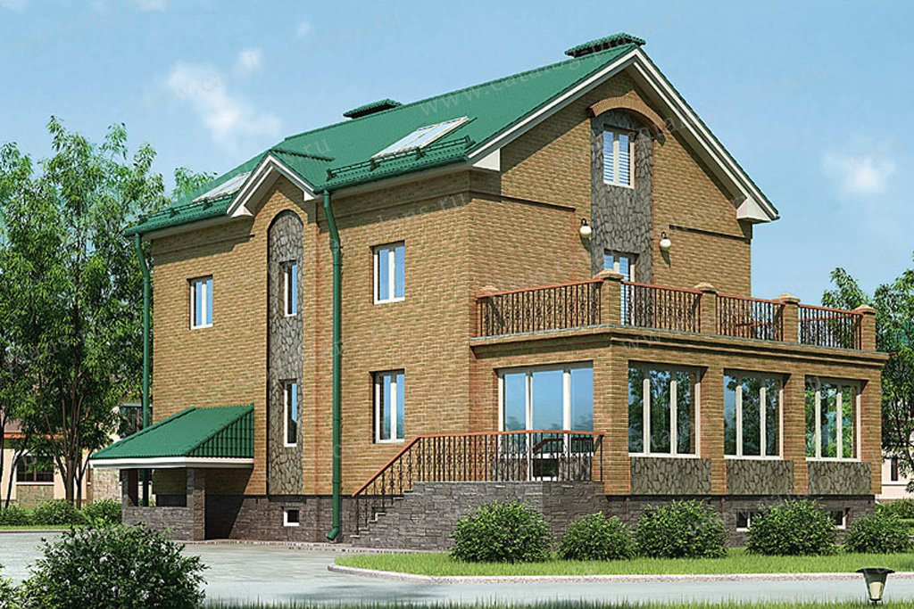 Проект жилой дом #37-61 материал - кирпич, стиль европейский