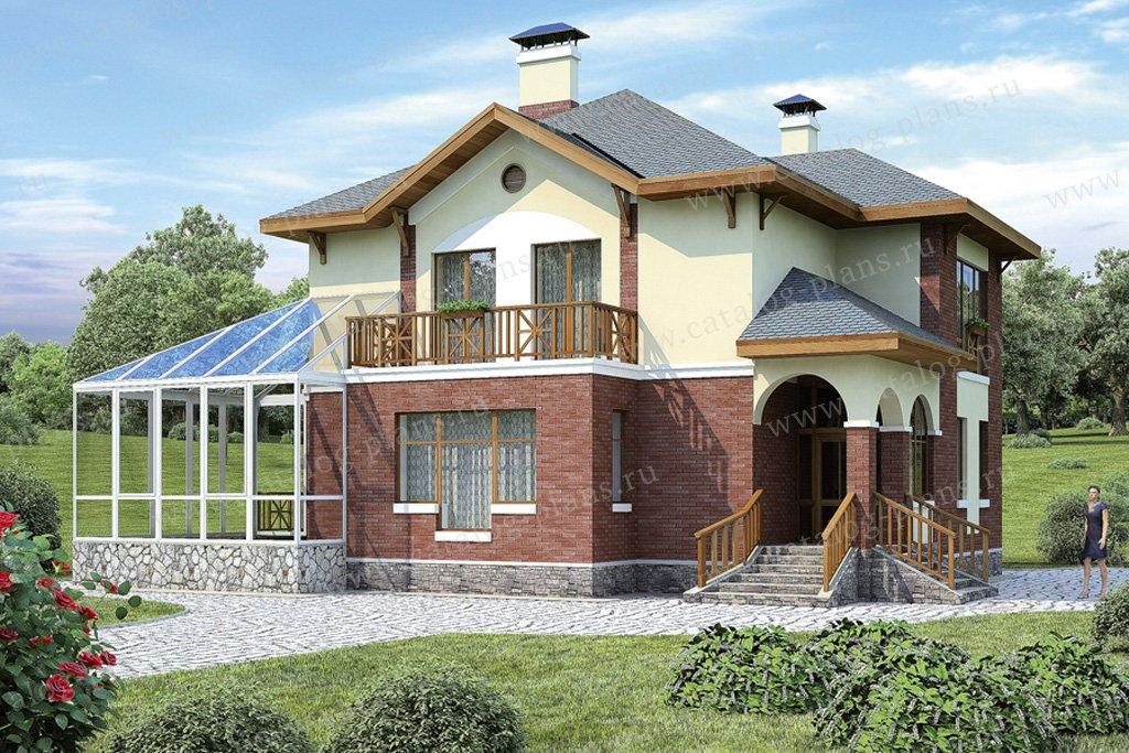 Проект жилой дом #37-07 материал - кирпич, стиль европейский