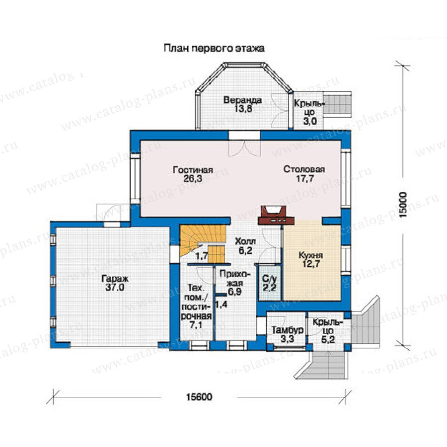 План 1-этажа проекта 37-08