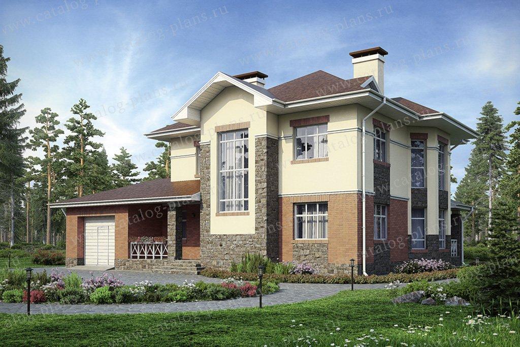 Проект жилой дом #37-36 материал - кирпич, стиль американский