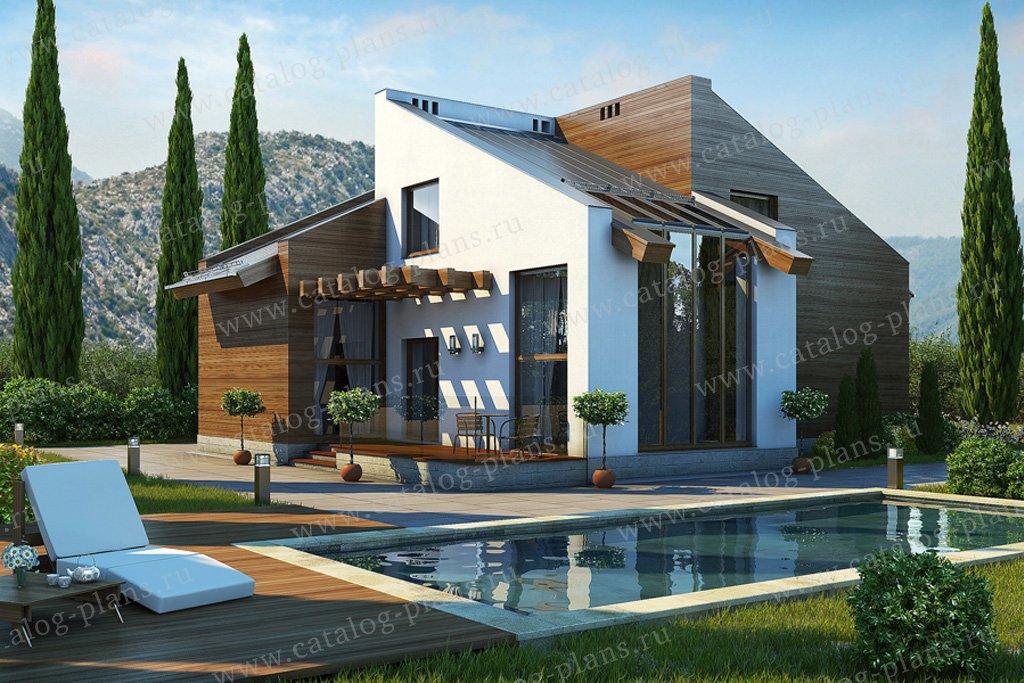 Проект жилой дом #39-12 материал - кирпич, стиль хай-тек