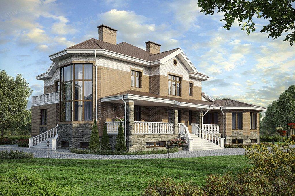 Проект жилой дом #38-17 материал - кирпич, стиль американский