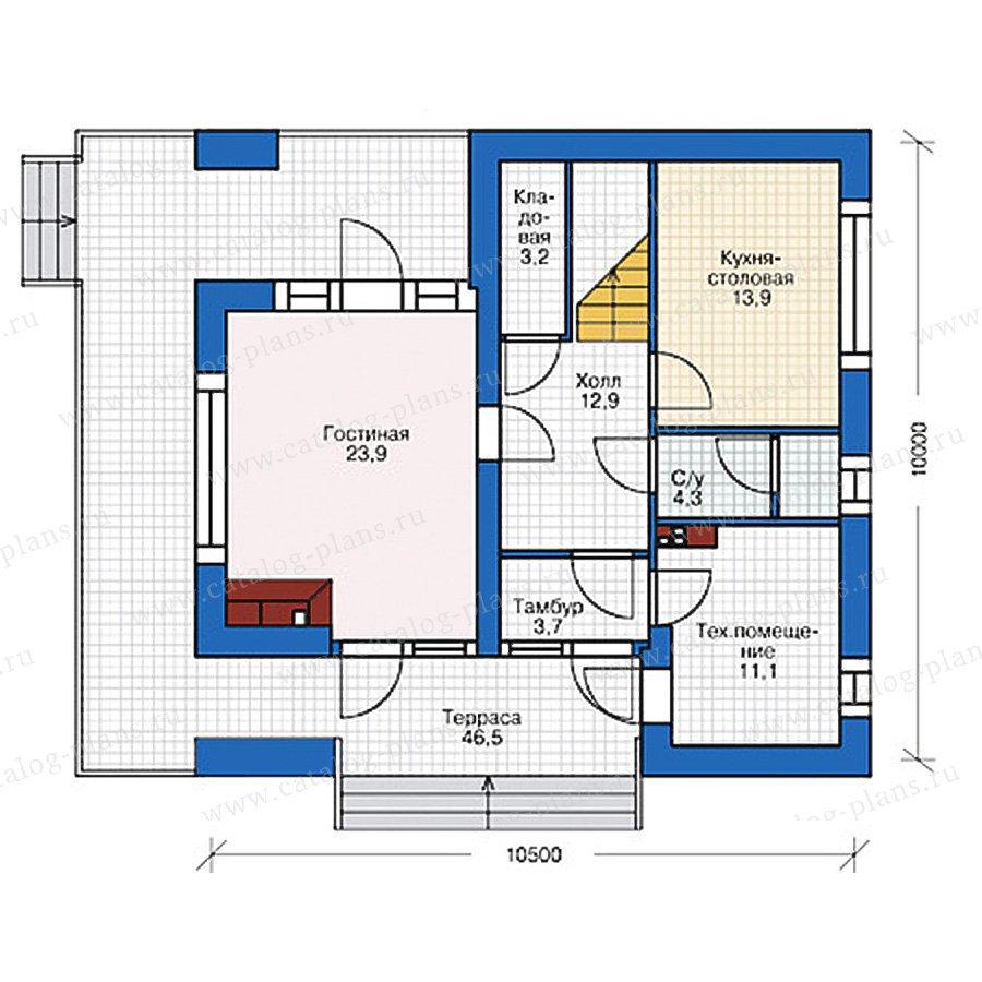 План 1-этажа проекта 38-88