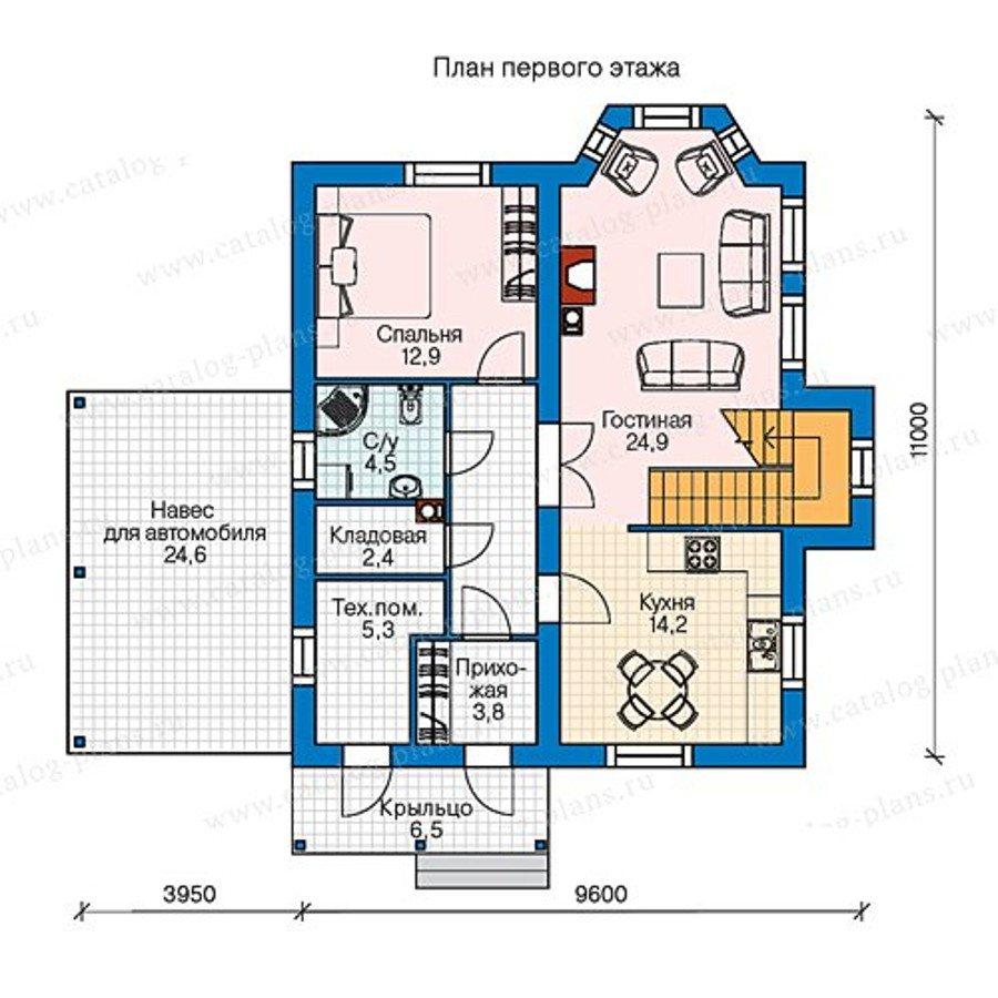 План 1-этажа проекта 60-75B