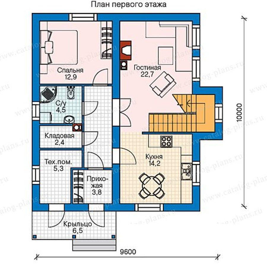 План 1-этажа проекта 60-75