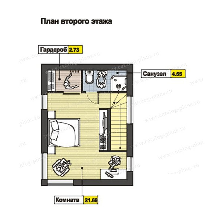 План 2-этажа проекта 60-70