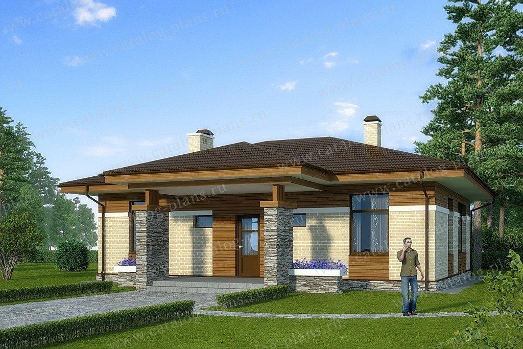 Проект жилой дом #60-47 материал - газобетон, стиль современный