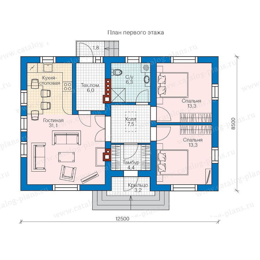 План 1-этажа проекта 60-53