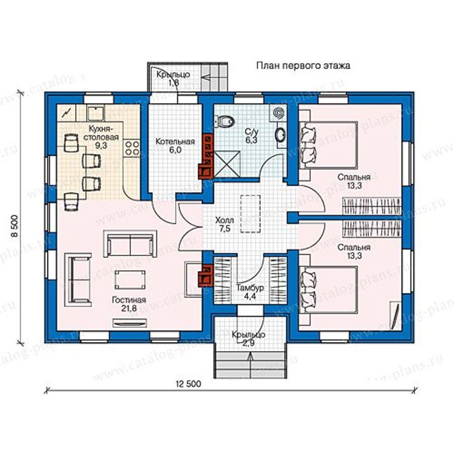 План 1-этажа проекта 60-54