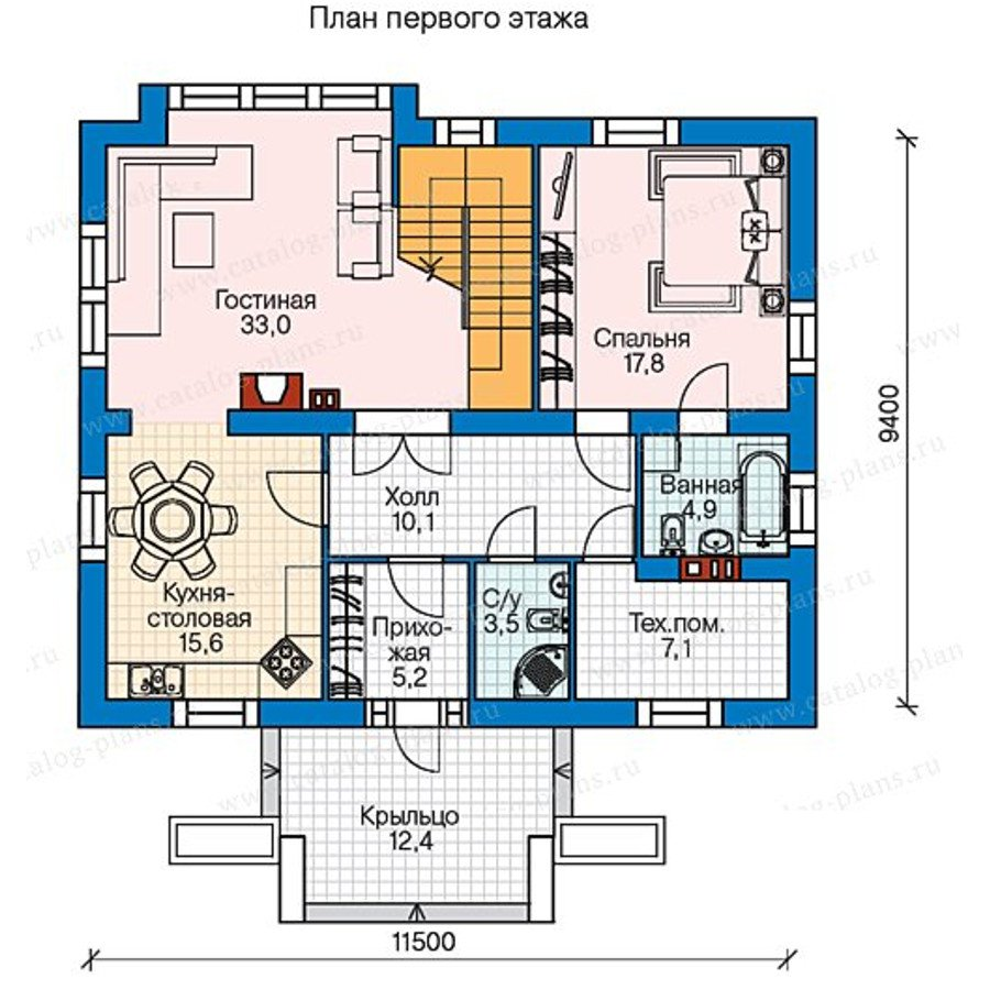 План 1-этажа проекта 60-58
