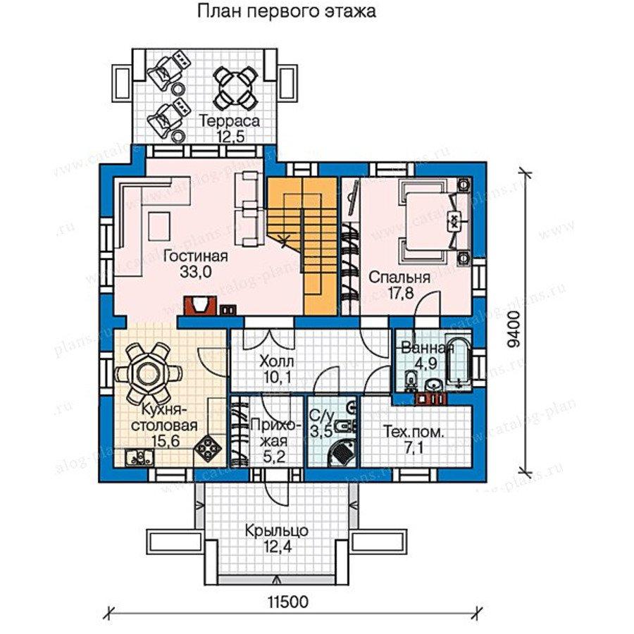 План 1-этажа проекта 60-57
