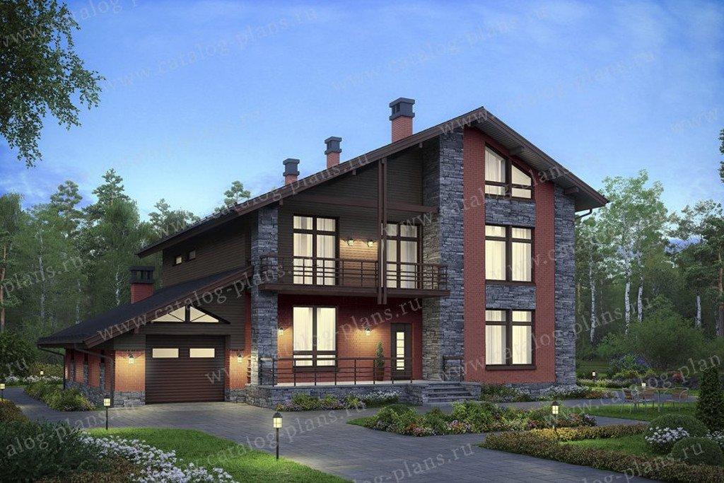 Проект жилой дом #59-96L материал - газобетон, стиль скандинавский