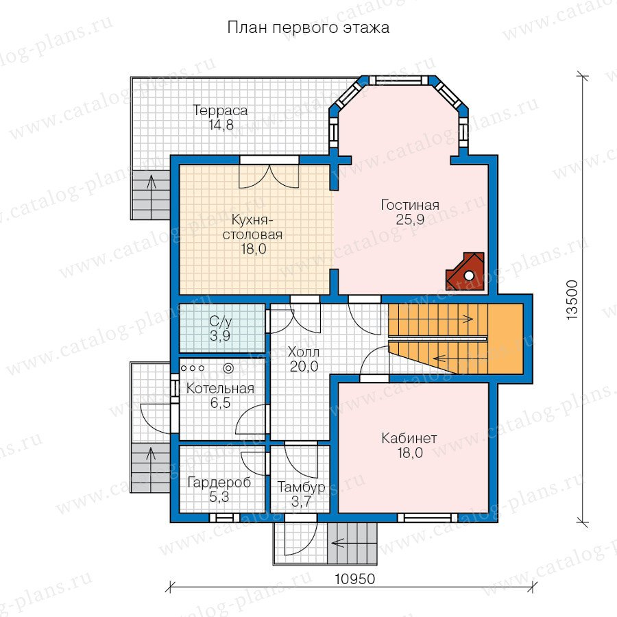 План 1-этажа проекта 70-55