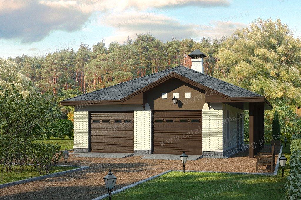 Проект гараж #70-00 материал - газобетон, стиль европейский