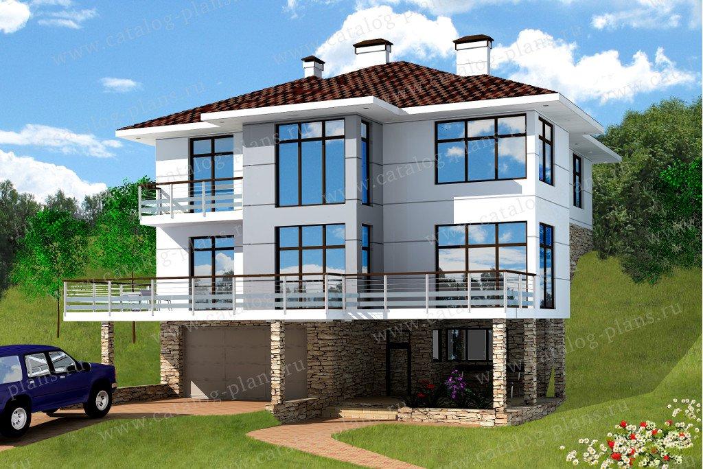 Проект жилой дом #70-56 материал - каркас, стиль хай-тек