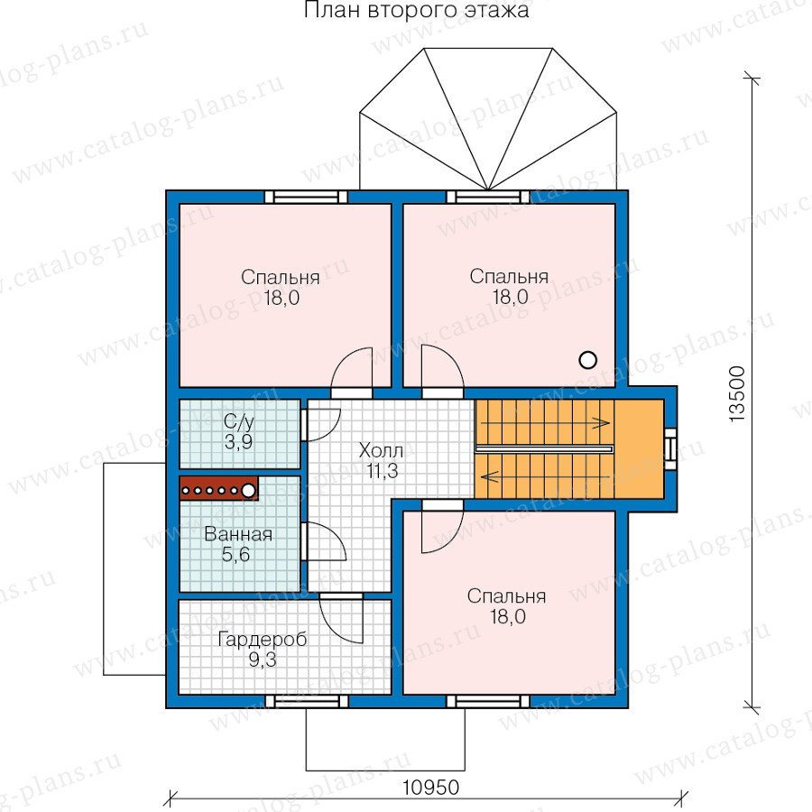 План 2-этажа проекта 70-55