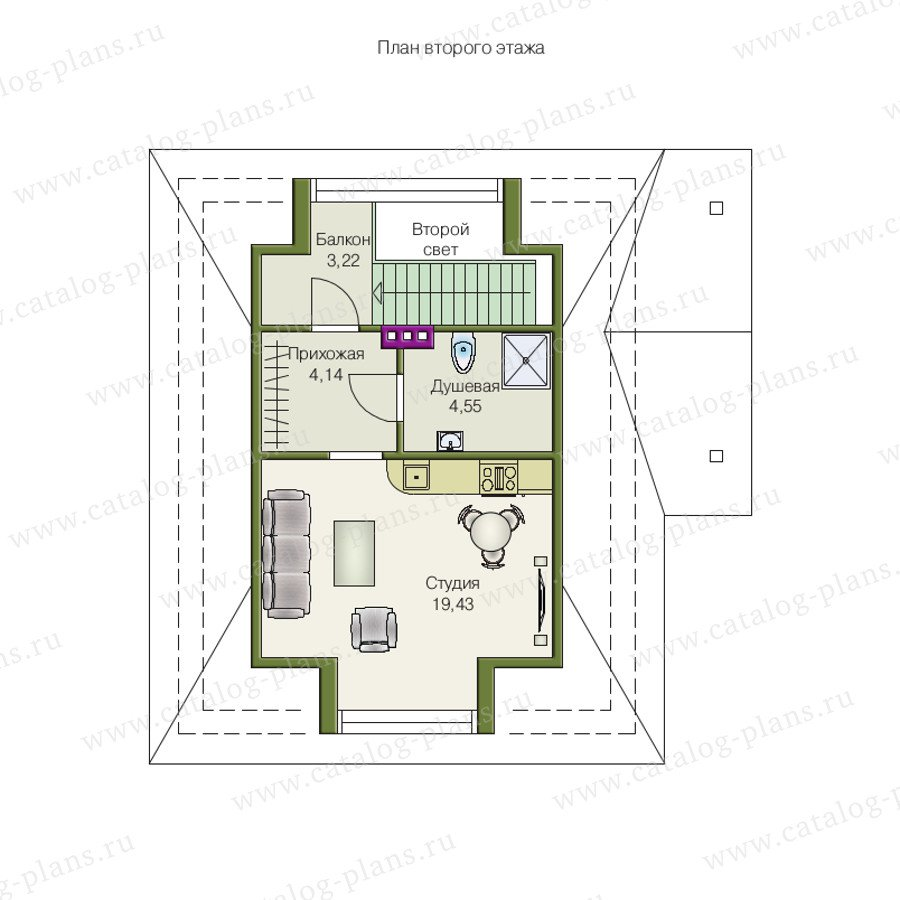 План 2-этажа проекта 70-02