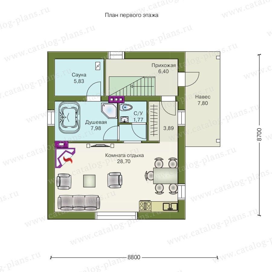 План 1-этажа проекта 70-02