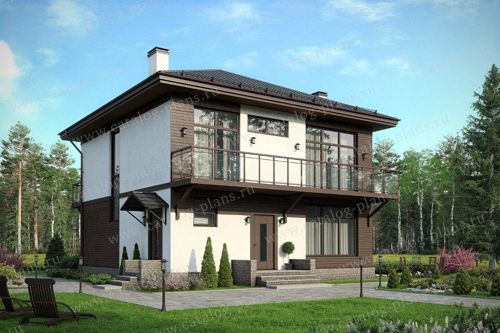 Проект жилой дом #60-49 материал - газобетон, стиль хай-тек