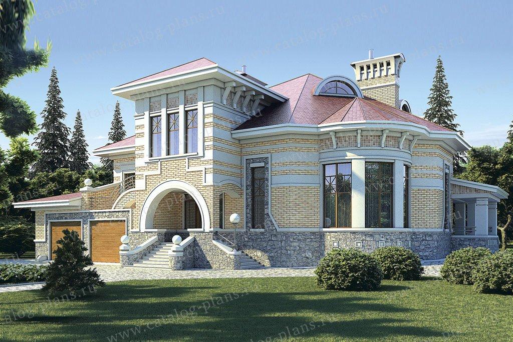 Проект жилой дом #36-18 материал - кирпич, стиль средиземный