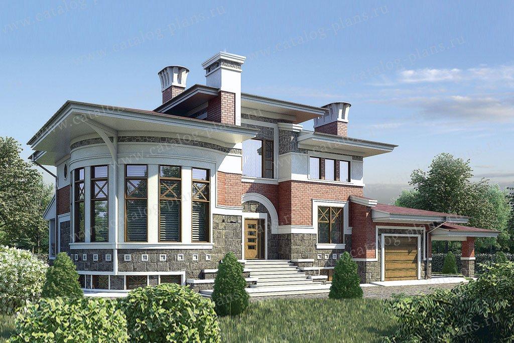 Проект жилой дом #36-13 материал - кирпич, стиль райт