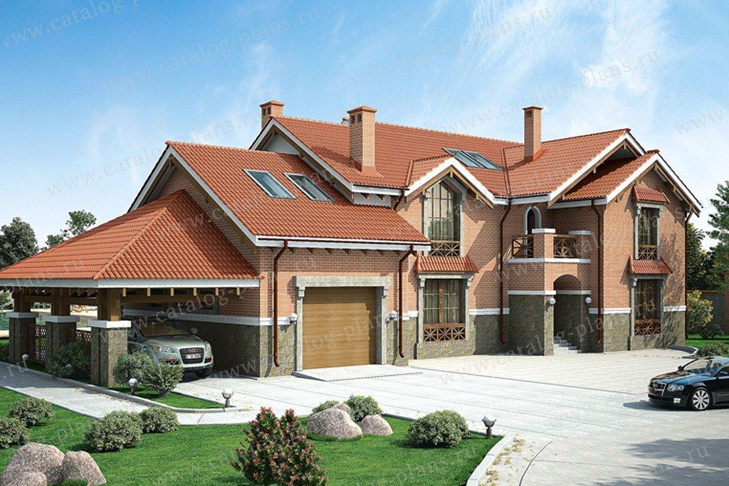 Проект жилой дом #36-28 материал - кирпич, стиль американский