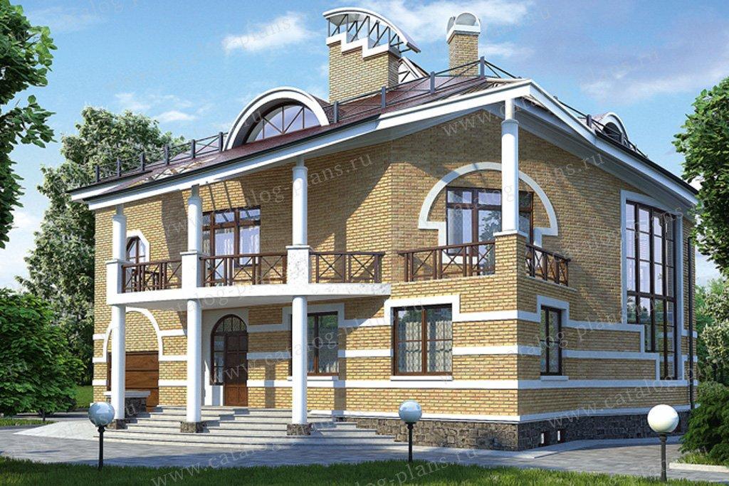 Проект жилой дом #36-12 материал - кирпич, стиль средиземный