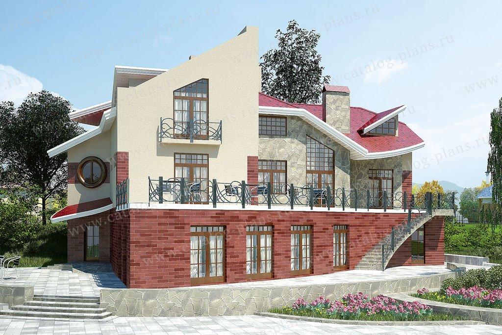 Проект жилой дом #36-65 материал - кирпич, стиль хай-тек