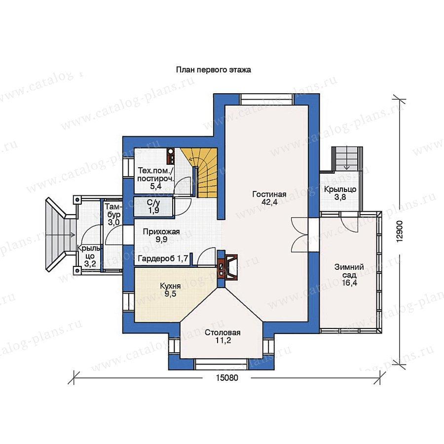План 1-этажа проекта 36-84