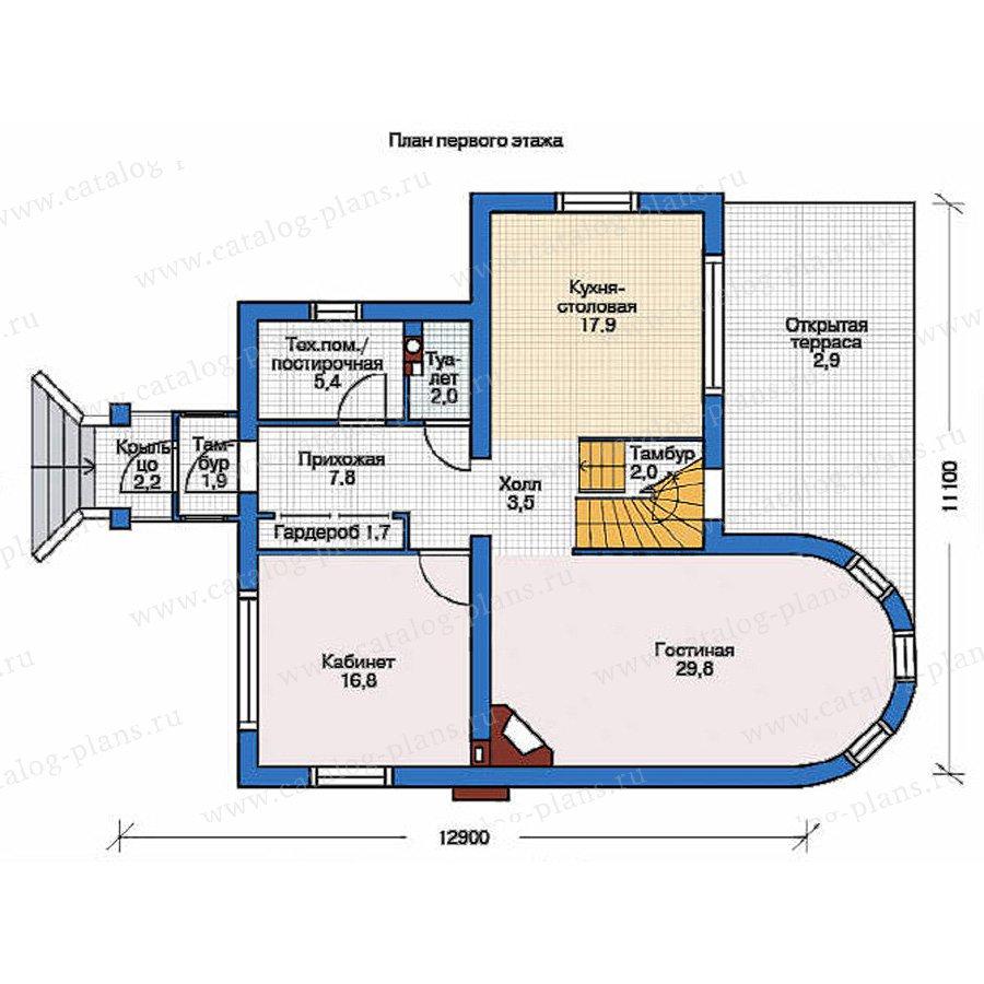 План 1-этажа проекта 36-68