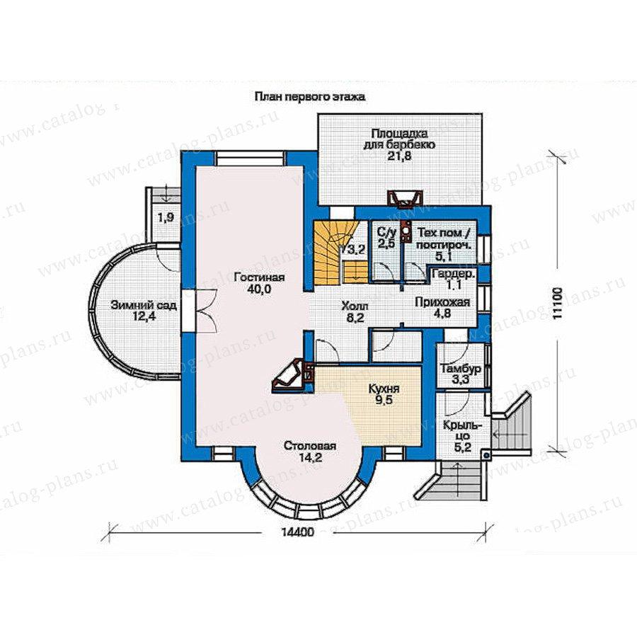 План 1-этажа проекта 36-70